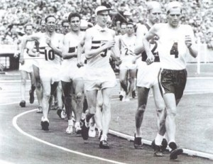 George Coleman, Halesworth resident and race-walker (No. 10 in the picture), at the start of the 20km. road walk in the Melbourne Olympics, 1956