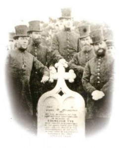Halesworth police at the grave of P C Tye, Halesworth Cemetery