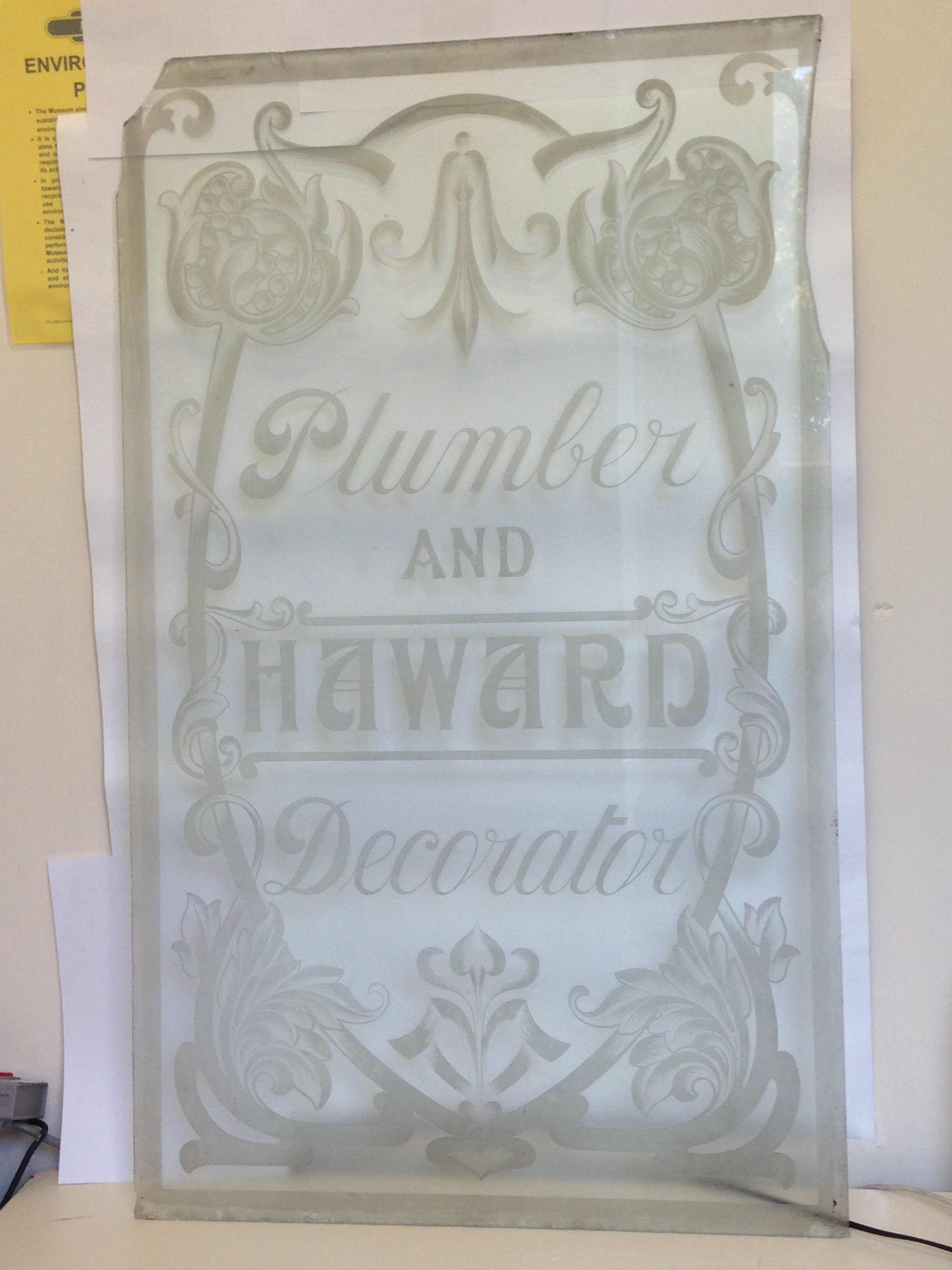 Haward Plumbers and Decorators Door Glass